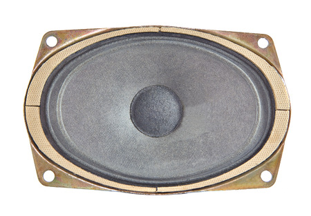 decibels: One oval speaker isolated on white background