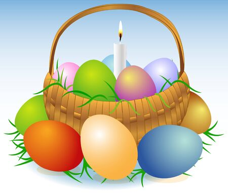 easter candle is burning: Illustration of an Easter basket with colored eggs, greens and burning candle