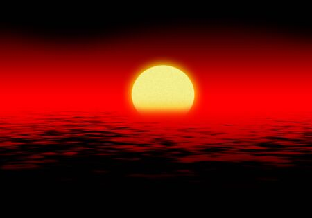 sinister: Sinister red sunset over the sea with black waves