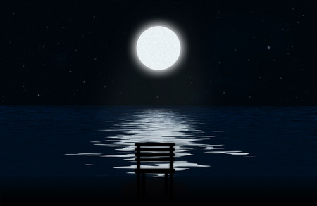 moon chair: Moon, the stars and moonlit path on the water surface and silhouette of chair