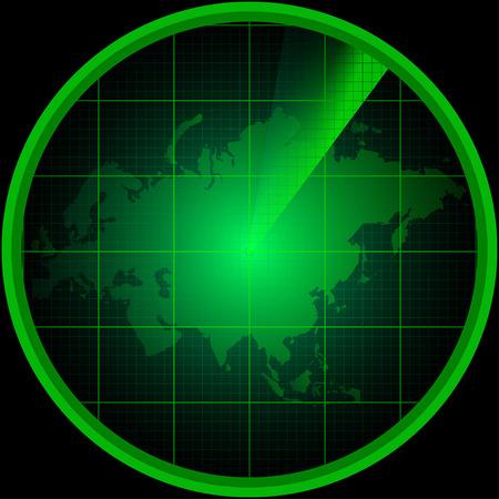 eurasia: Illustration of radar screen with a silhouette of Eurasia