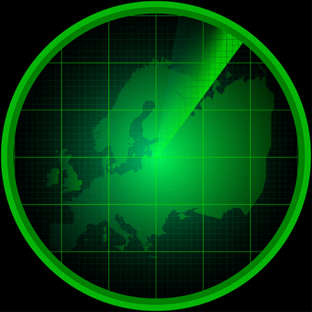 equator: Illustration of radar screen with a silhouette of Europe