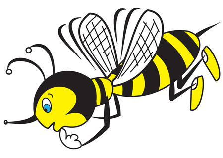 Illustration of The thinking cartoon bee on a white background