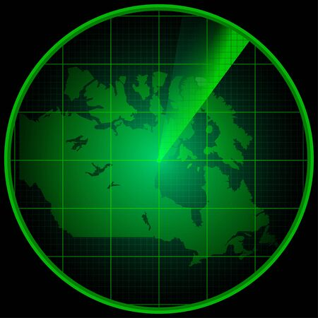localization: Illustration of Radar screen with the silhouette of Canada