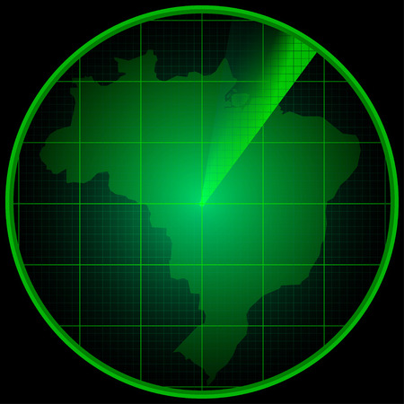 localization: Illustration of Radar screen with the silhouette of Brazil