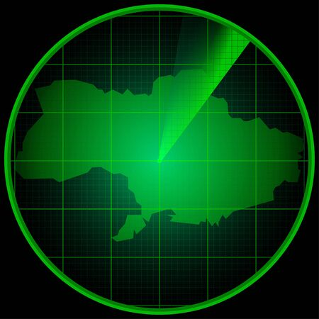 localization: Illustration of Radar screen with the silhouette of Ukraine Illustration