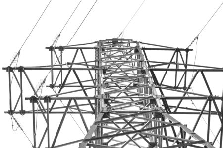 watts: Black-and-white image of a high-voltage support on a light background Stock Photo