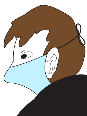 hair mask: Illustration of The Man in a medical mask