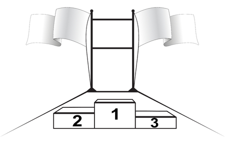 competitions: Illustration of scoreboard competitions with flags and pedestal