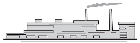 production area: Symbolic illustration silhouette of Factory on a white background