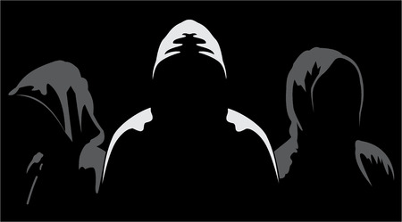 Illustration of three silhouettes of anonymous on a black background Ilustração