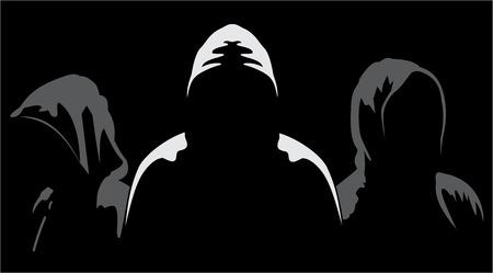 Ilustración de tres siluetas de anónimo en un fondo negro
