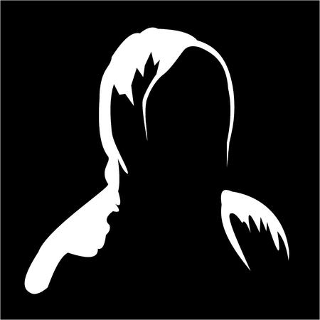Illustrazione di siuhouette di anonimo su sfondo nero