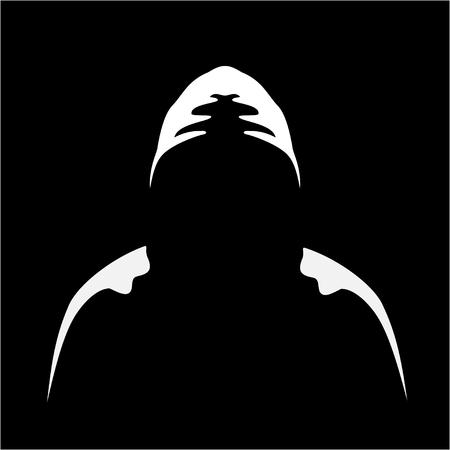 Illustration of siuhouette of anonymous on a black background
