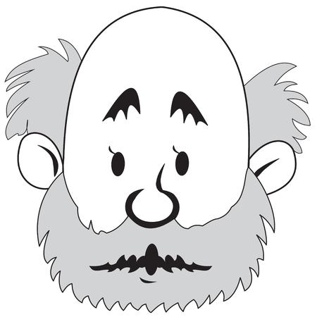 bald man: Illustration of head cartoon bald man with a beard Illustration