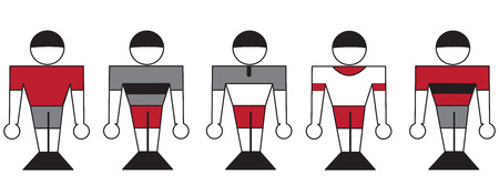 readiness: Illustration of symbolic sports team members in different clothes
