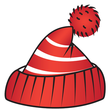 beanie: Illustration of a red sports beanie with a pompon
