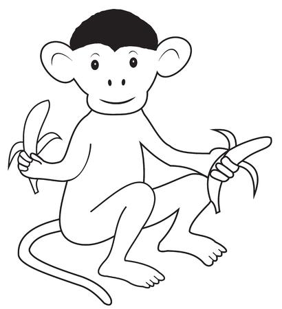primate biology: Illustration contour of cartoon monkey with bananas