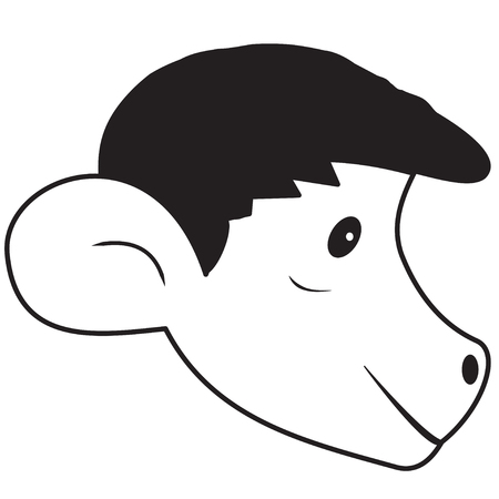 primate biology: Illustration contour of cartoon head of the monkey Illustration