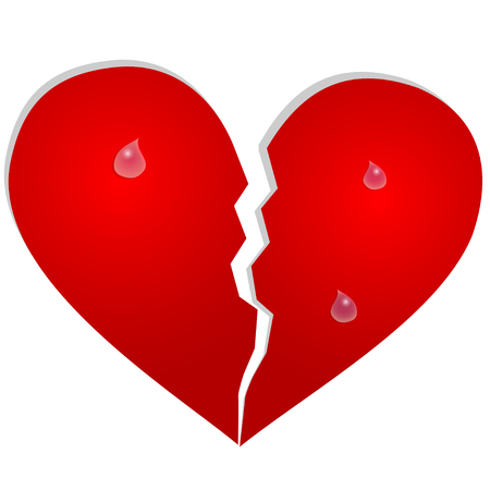 resentment: Aparted heart with tears on white background Illustration