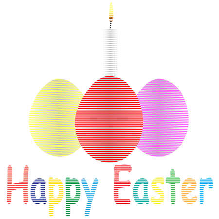 easter candle is burning: Illustration of striped easter eggs and burning candle