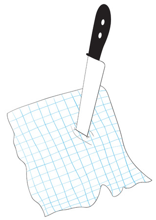 to pierce: Illustration of knife stuck into a chekered piece of paper Illustration
