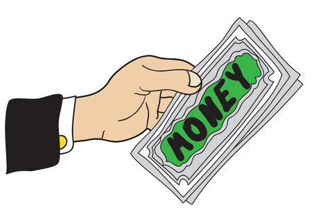 outstretched hand: Illustration cartoon hand with a few banknotes with the inscription Money
