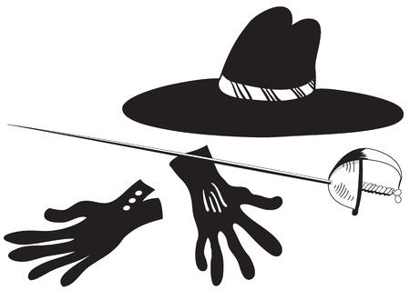 mosquetero: Ilustraci�n de sombrero negro con guantes y la espada