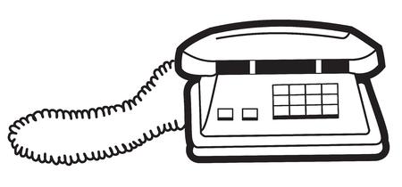 communications tools: Illustration of black and white silhouette symbol telephone Illustration