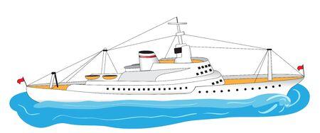 ocean liner: Illustration of a big white ocean liner