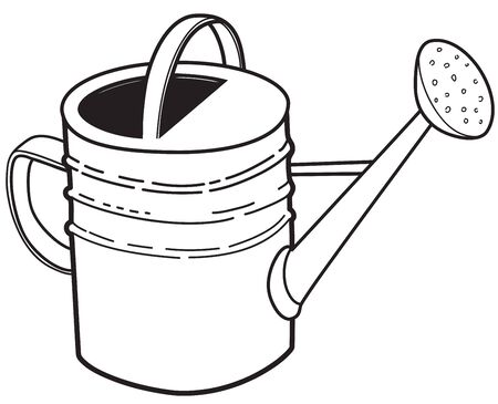 Illustration of outline big garden watering can on a white background