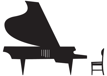 Illustration of silhouette a grand piano and chairs on a white background