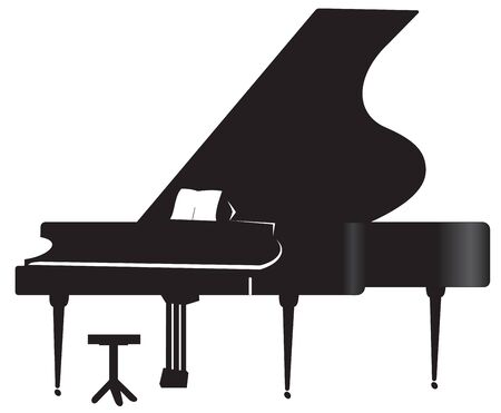 sounds: Illustration of silhouette a grand piano and chairs on a white background