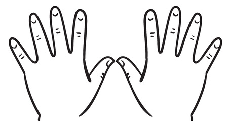 Illustration of outline of hands on a white background