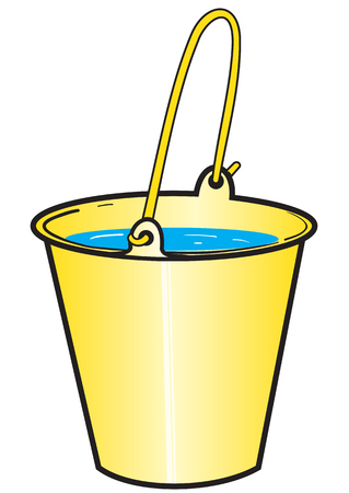Illustration of a bright yellow bucket with water on the white background Illustration
