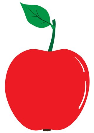 Illustration of a ripe red apple on a white background