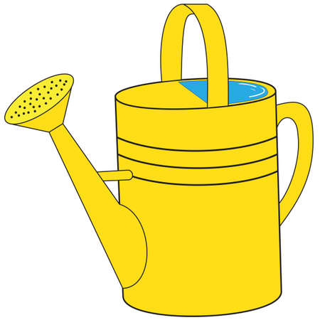 Illustration of a yellow garden watering can with water