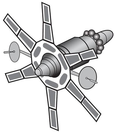 Illustration of communications satellites on a white background Illustration