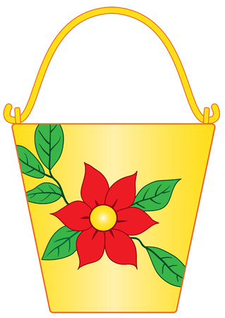 Illustration of yellow bucket with flower pattern on white background