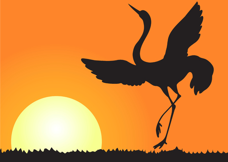 Illustration silhouette of flying shadoof on the background