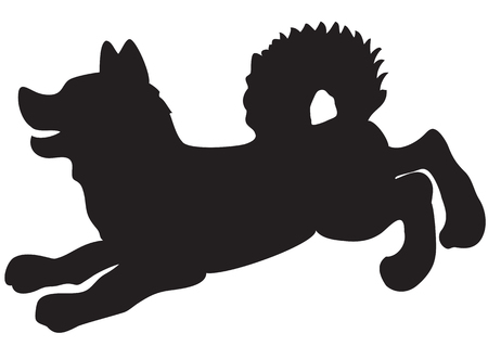 barking dog: Illustration of a running dog silhouette on a white background Illustration