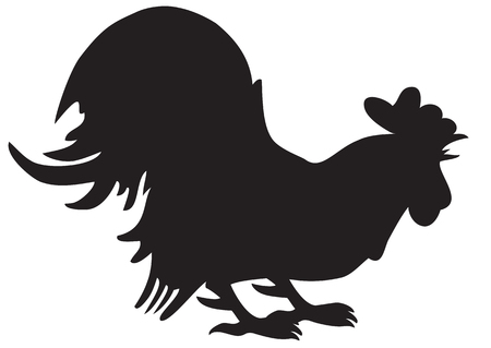 Illustration silhouette of screaming cock on a white background