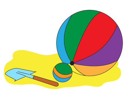 Illustration of colorful balls and children shovel on the sand