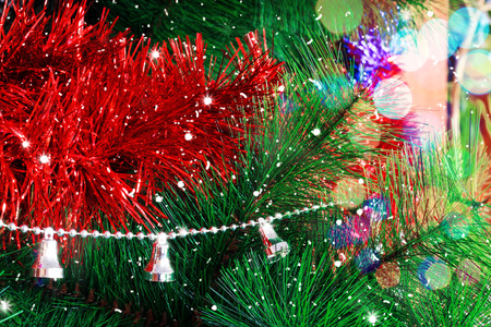 Christmas background with Christmas tree toys and lights Stock Photo
