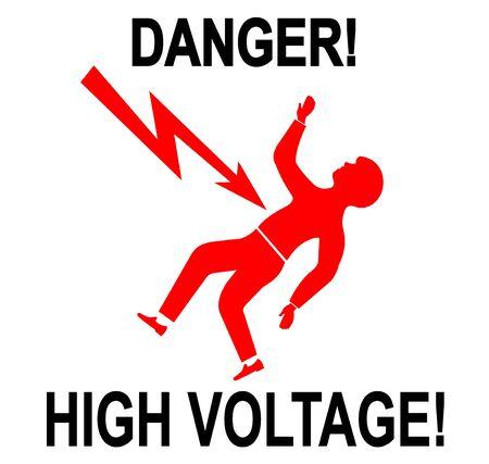 high voltage: Illustration of warning sign of high voltage