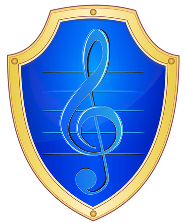 Illustration of a shield with the sign of a treble clef