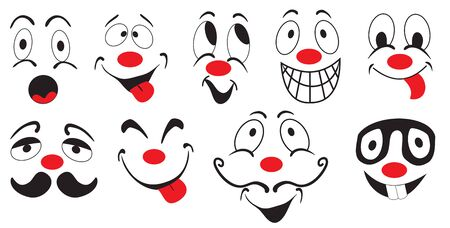 brow: Illustration of several funny smileys on white background