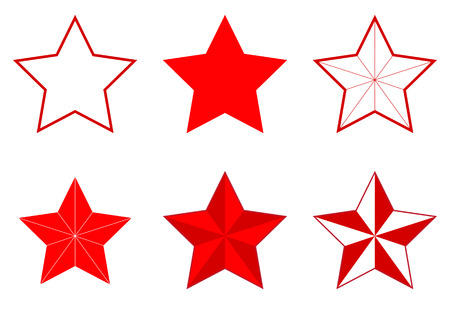 Illustration of a set of different five-pointed stars on a white background