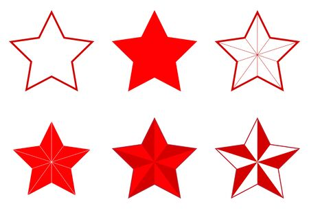 estrellas cinco puntas: Illustration of a set of different five-pointed stars on a white background