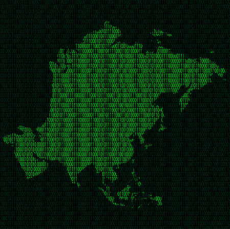 Illustration of silhouette of Asia from binary digits on background of binary digits